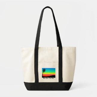CUSTOM  BEACH WITH PALM TREE, ABSTRACT BEACH BAG
