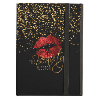 Custom -Beauty Injector - Gold Confetti & Red Lips iPad Air Cover