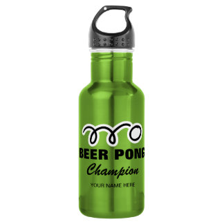 Custom beer pong champion water bottle