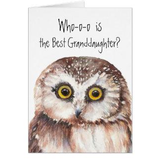 Custom Best Granddaughter Cute Owl Humor Greeting Card