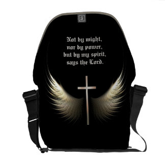 Custom Bible Verse with Cross and Wings Religious Courier Bags
