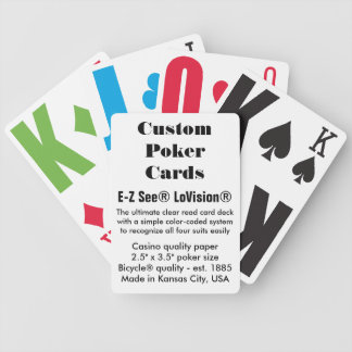 Custom Bicycle® Poker Cards - E-Z See® LoVision®