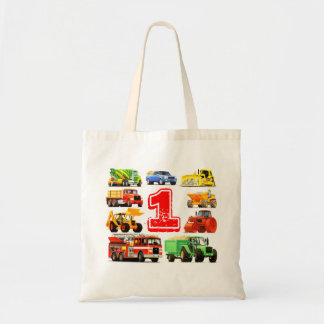 Custom Big Trucks 1st Baby Birthday Tote Bag