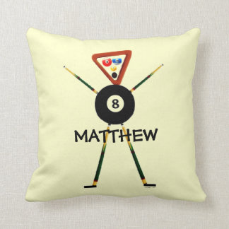 Custom Billiards Cartoon Throw Pillow