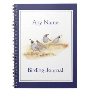 Custom Birding Journal Watercolor California Quail