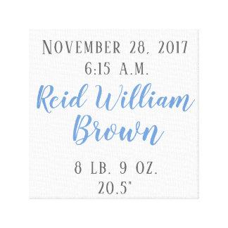 Custom Birth Announcement canvas