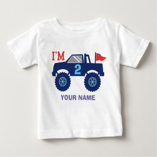 Custom Birthday Monster Truck Age And Name Baby T-Shirt