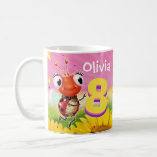 Custom birthday mug girl 8yrs Ladybug
