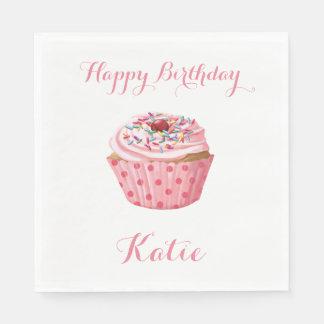 Custom Birthday Napkins,Pink Girly Cupcake Disposable Napkins