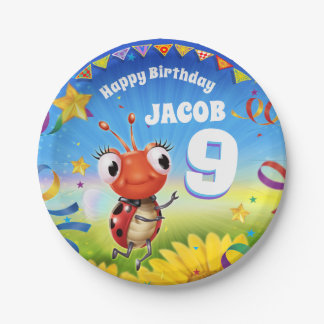 Custom Birthday Party plate boy 9yrs old