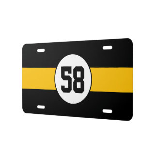 Custom Black and Gold number stripe License Plate