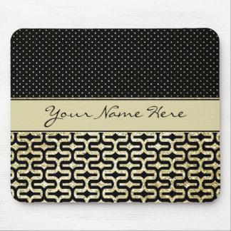 Custom Black and Gold Polka Dot Labyrinth Mouse Pad