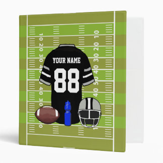 Custom Black and Gray Football Jersey on Field 3 Ring Binder