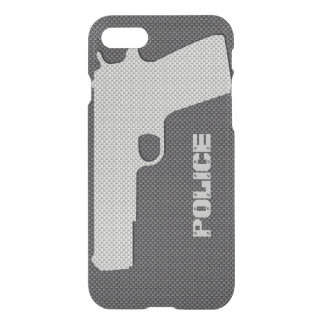 Custom Black and Grey Carbon Fibre Police Gun iPhone 7 Case