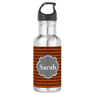 Custom Black and Orange Stripes Water Bottle
