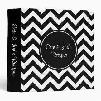 Custom Black and White Chevron Pattern 3 Ring Binder