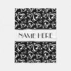 Custom Black And White Clef Hearts Music Notes Fleece Blanket