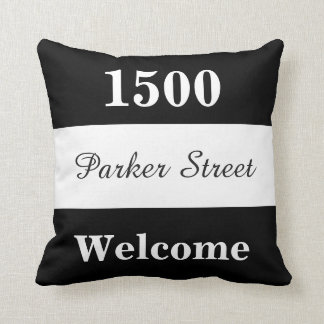 Custom Black and White House Number Sign Throw Pillow