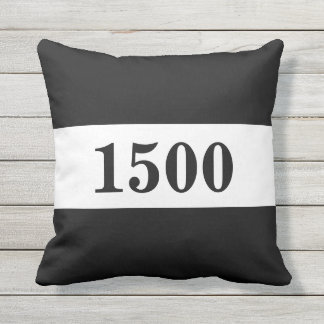 Custom Black and White House Number Throw Pillow