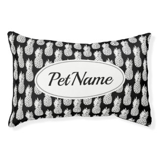 Custom black and white pineapple pattern dog bed