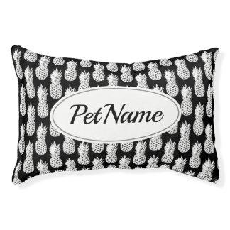 Custom black and white pineapple pattern dog bed