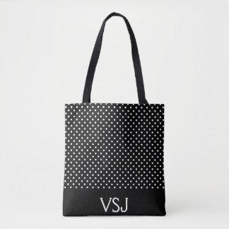 Custom Black and White Polka Dot Tote Bag