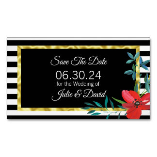 Custom Black and White Save the Date Wedding Magnetic Business Card