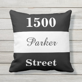 Custom Black and White Street Address Sign Outdoor Pillow