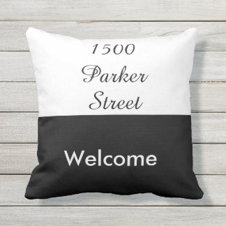 Custom Black and White Street Address Welcome Throw Pillow