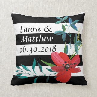 Custom Black and White Striped Wedding Pillow