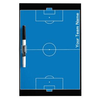 Custom black blue soccer field dry erase board