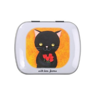 Custom Black Cat with Flowers Jelly Bean Candy Tin