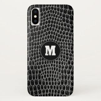Custom Black Croc Monogram Faux Crocodile Skin iPhone X Case