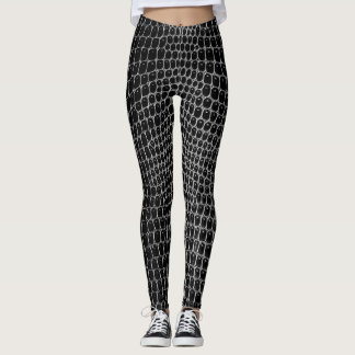 Custom Black Faux Crocodile Skin Leggings