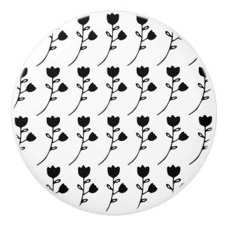 custom black flower on white cabinet knob ceramic knob