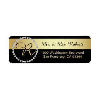 Custom Black Gold Foil Diamond Monogram Letter