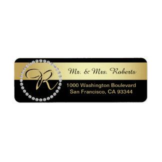 Custom Black Gold Foil Diamond Monogram Letter Return Address Label
