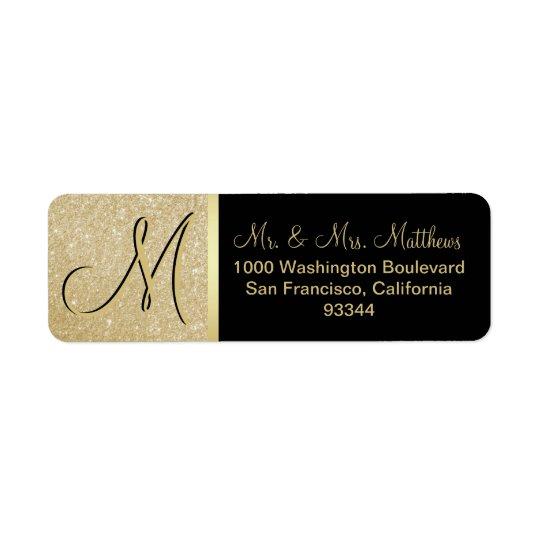Custom Black Gold Glitter Monogram Letter Return Return Address Label