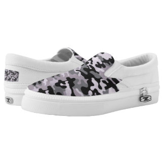 Custom black/gray camo Zipz Slip On Shoes