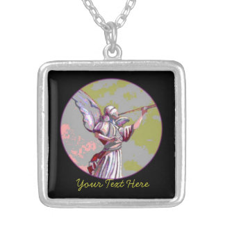 Custom Black Green And Pink Angel Picture Necklace