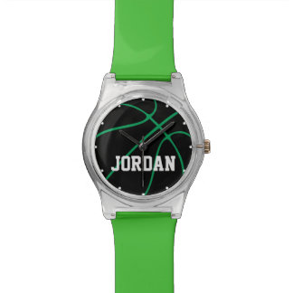 Custom Black & Green Basketball Player Kids Watch