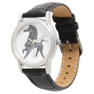 Custom Black Leather Bucephalus Watch