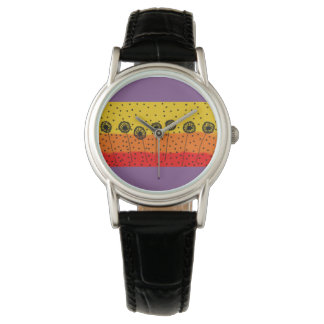 custom black leather watch with colourful design