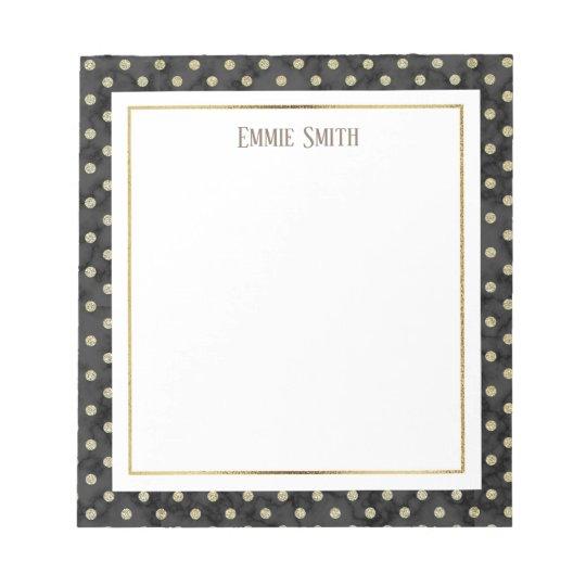 Custom Black Marble with Gold Polka Dots Notepad