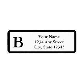Custom Black Monogrammed Return Address Labels