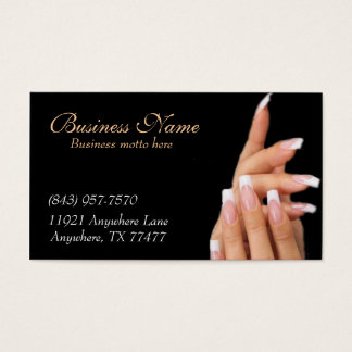 Custom Black Nail Salon Business Cards