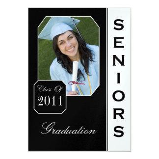 Custom Black Photo Graduation Announcements