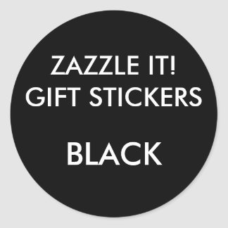 Custom BLACK ROUND Large Gift Stickers Template