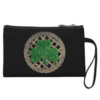 Custom Black Shamrock On Celtic Knots Clutch Purse