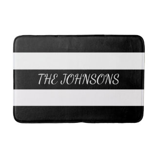 Custom Black Stripes Bath Matt Bath Mat